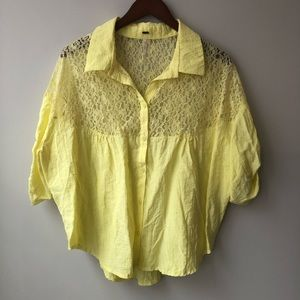 Free People Oversized Cropped Yellow Lace Blouse